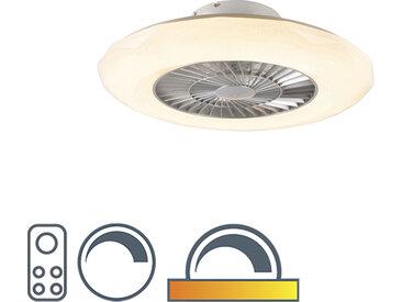 Ventilateur de plafond argent avec LED avec effet étoile dimmable - Clima