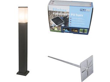 Lampe d'extérieur anthracite 80cm IP44 - Malios avec broche de terre et gaine de câble