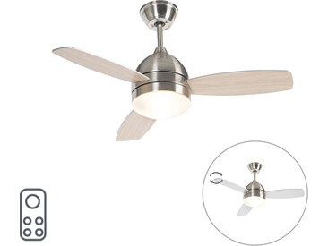 Ventilateur de plafond nickel 2 lumières avec télécommande - Rotar