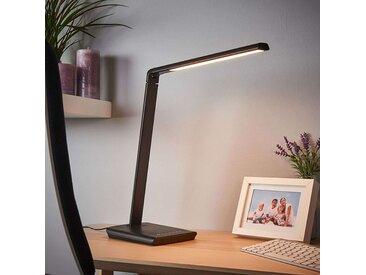 Lampe de bureau noire avec port USB, y compris LED et dimmer - Kuno