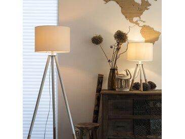 Ensemble lampe de table et lampadaire blanc avec abat-jour - Pip