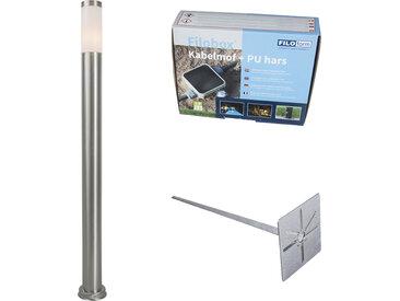 Lampadaire d'extérieur acier 110 cm IP44 - Rox avec broche de terre et gaine de câble