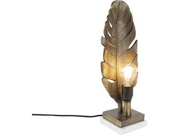 Lampe de table Art Déco bronze avec base en marbre - Feuille