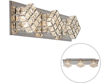 Applique design chrome 3 lumières avec LED - Waffle
