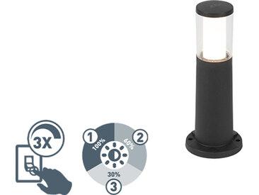 Poteau extérieur moderne noir 40 cm IP55 avec GU10 - Carlo