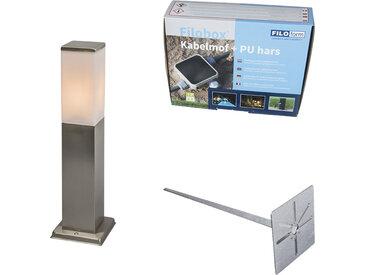 Lampe d'extérieur acier 45cm IP44 - Malios avec broche de terre et gaine de câble