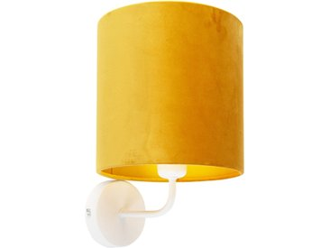 Applique vintage blanc avec abat-jour en velours jaune - Matt