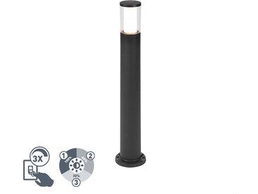 Mât d'extérieur moderne noir 80 cm IP55 avec GU10 dimmable en 3 étapes - Carlo
