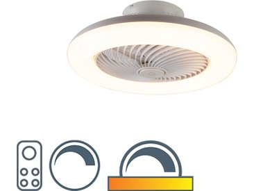 Ventilateur de plafond design blanc avec LED dimmable - Clima
