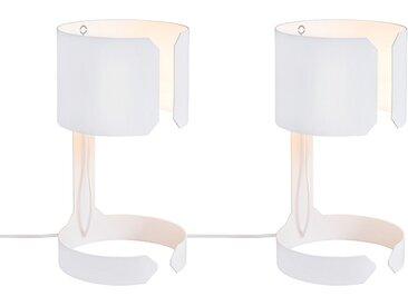 Lot de 2 lampes de table design blanc - Valse