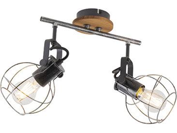 Spot de plafond industriel en acier avec bois 36 cm 2 lumières - Torce