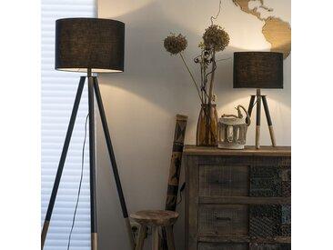 Ensemble lampe de table et lampadaire noir avec abat-jour - Pip