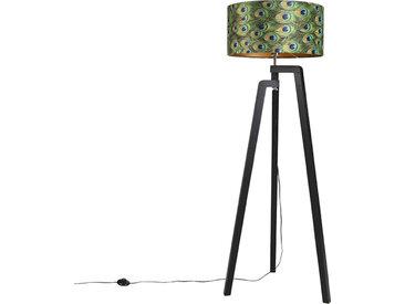 Lampadaire trépied noir avec abat-jour paon design 50 cm - Puros