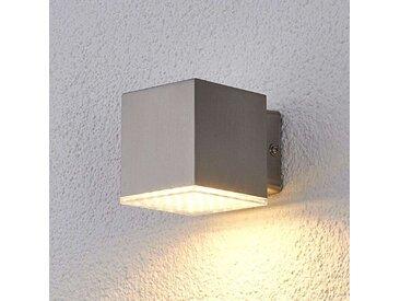 Lampe d'extérieur carrée en acier inoxydable avec LED IP44 - Lydia
