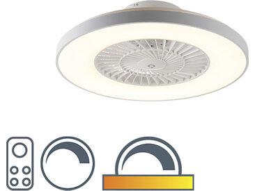 Ventilateur de plafond blanc effet étoile dimmable - Climo
