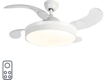 Ventilateur de plafond moderne blanc avec télécommande avec LED - Xiro
