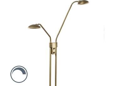 Lampadaire moderne en bronze avec lampe de lecture et LED - Eva