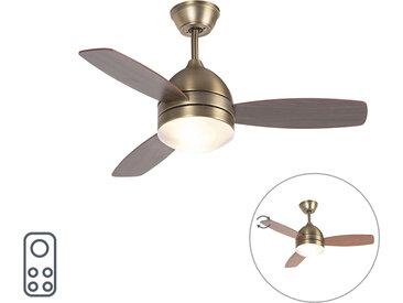 Ventilateur de plafond bronze 2 lumières avec télécommande - Rotar