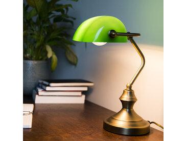 Lampe de notaire Banker vert/cuivre/bronze