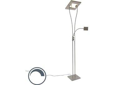 Lampadaire carré moderne en acier avec lampe de lecture LED Helia incluse