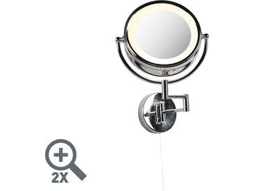 Commutateur à tirette en acier chromé pour miroir de maquillage rond x2 - Vicino
