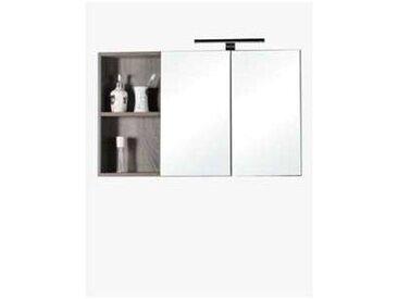 Meuble salle de bain haut aquasun 2 miroirs avec eclairage applique led 900 x 550 x 140 mm chene californien gris