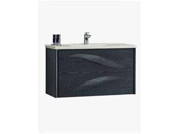 Meuble salle de bain suspendu aquavento 2 tiroirs 790 x 560 x 450 mm chene lasure noir