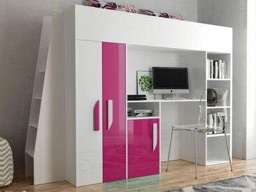 Lit combiné PARADISIO 90x200 cm blanc/rose brillant avec échelle à gauche