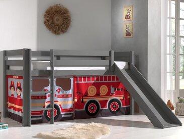 Lit enfant ALIZE avec toboggan 90x200 cm pin gris tente Pompier II