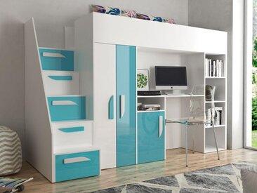 Lit combiné PARADISIO 90x200 cm blanc/bleu brillant avec escalier à gauche