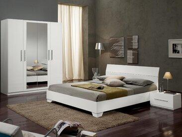 Chambre complète GINOLA 160x200 cm blanc laqué