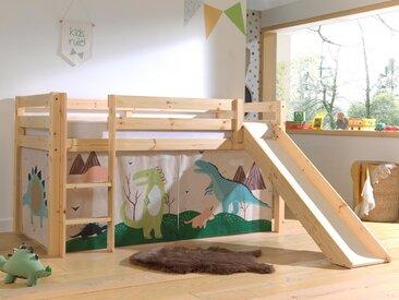 Lit enfant ALIZE avec toboggan 90x200 cm pin naturel tente Dinosaure