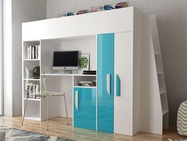 Lit combiné PARADISIO 90x200 cm blanc/bleu brillant avec échelle à droite