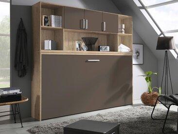 Lit escamotable ALBANO 90x200 cm sanremo/gris lave avec surmeuble