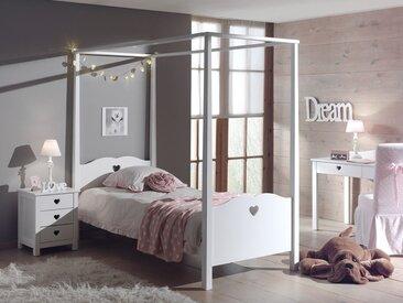 Lit  à baldaquin AMORA 90x200 cm blanc sans rideaux et sans tiroir