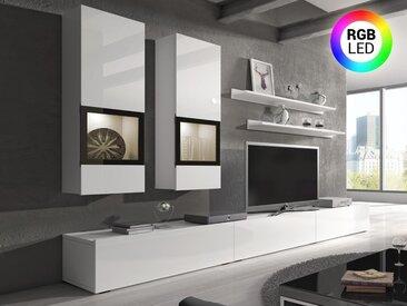 Mur tv-hifi BABEL 5 portes blanc laqué avec led