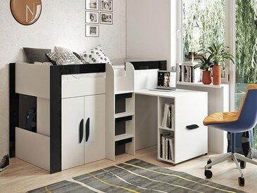 Lit combiné TARANTINO 90x200 cm blanc/noir brillant avec bureau à droite