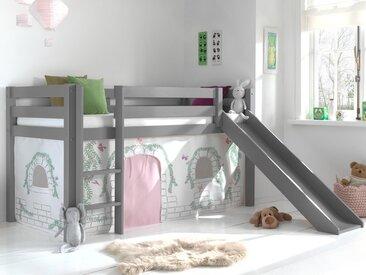 Lit enfant ALIZE avec toboggan 90x200 cm pin gris tente Chateau