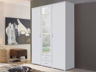 Armoire TWIST 3 portes 2 tiroirs avec miroir blanc