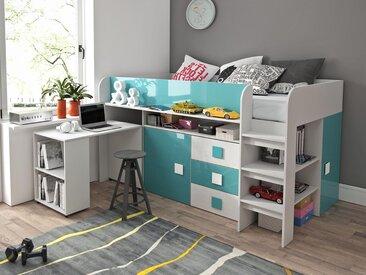 Lit combiné TOLISSO 90x200 cm blanc/bleu brillant avec bureau à gauche