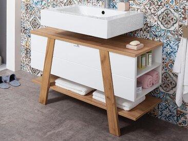 Meuble sous-lavabo NOBLISSIMO 1 porte blanc/chêne navarra