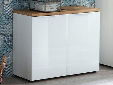 Meuble sous-lavabo PESTO 2 portes blanc/chêne navarra