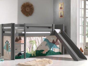 Lit enfant ALIZE avec toboggan 90x200 cm pin gris tente Dinosaure