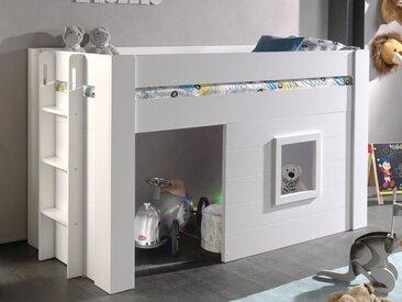 Lit enfant NAOM surélevé 90x200 cm blanc sans rideaux