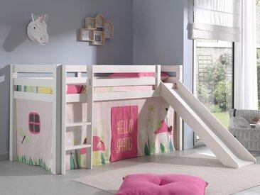 Lit enfant ALIZE avec toboggan 90x200 cm pin blanc tente Spring
