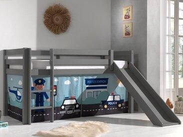 Lit enfant ALIZE avec toboggan 90x200 cm pin gris tente Police