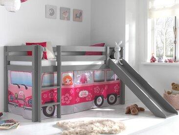 Lit enfant ALIZE avec toboggan 90x200 cm pin gris tente Little Princess