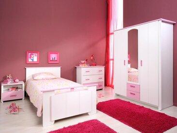 Chambre complète ROBINSON 90x200 cm blanc/rose 01