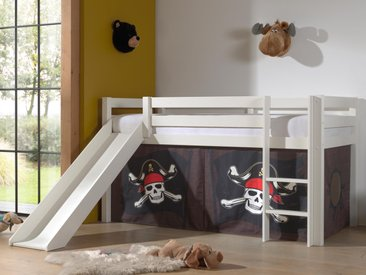 Lit enfant ALIZE avec toboggan 90x200 cm pin blanc tente Pirate des Caraïbes II