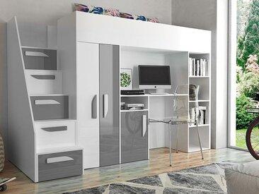 Lit combiné PARADISIO 90x200 cm blanc/gris brillant avec escalier à gauche